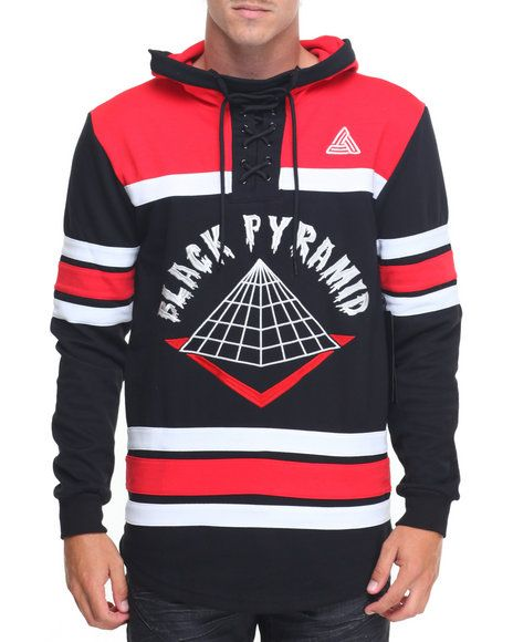 Black Pyramid B P Logo L S Hooded Hockey Jersey White Jeans Men Swag Outfits Men Hip Hop Outfits