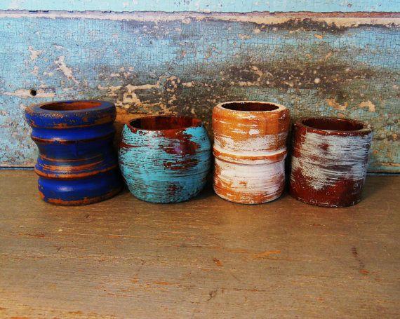 Wooden Napkin Rings Set of 4 Painted Seaside by turquoiserollerset, $8.00