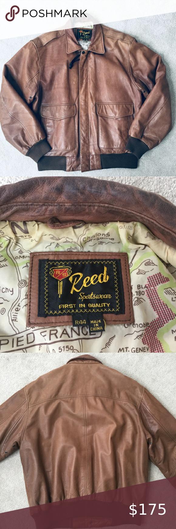 Vintage Reed Sportswear Leather Bomber Jacket 44 L Leather Bomber Jacket Leather Bomber Bomber Jacket [ 1740 x 580 Pixel ]