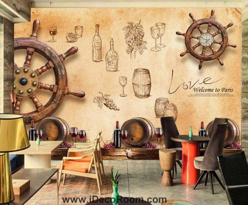 Wooden Boat Wheel On Wall Wine Art Wall Murals Wallpaper Decals ...