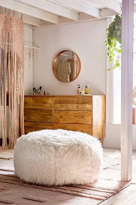 Aspyn Faux Fur Shag Ottoman | Bohemian Bedroom Decor | Pinterest