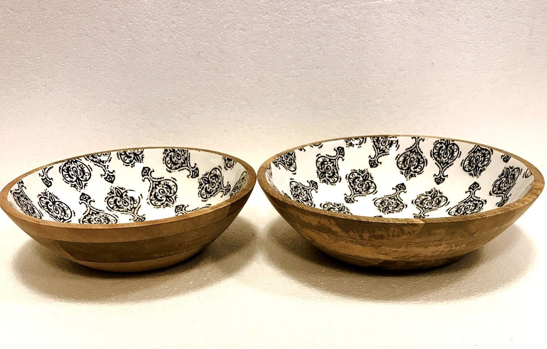 Wood And Enamel Bowl Set, Rustic Serve Ware, Serving Bowl, Kitchen Ware ,