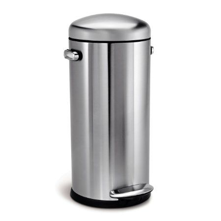 Amazon.com   Simplehuman Round Retro Step Trash Can, Stainless Steel, 30 L