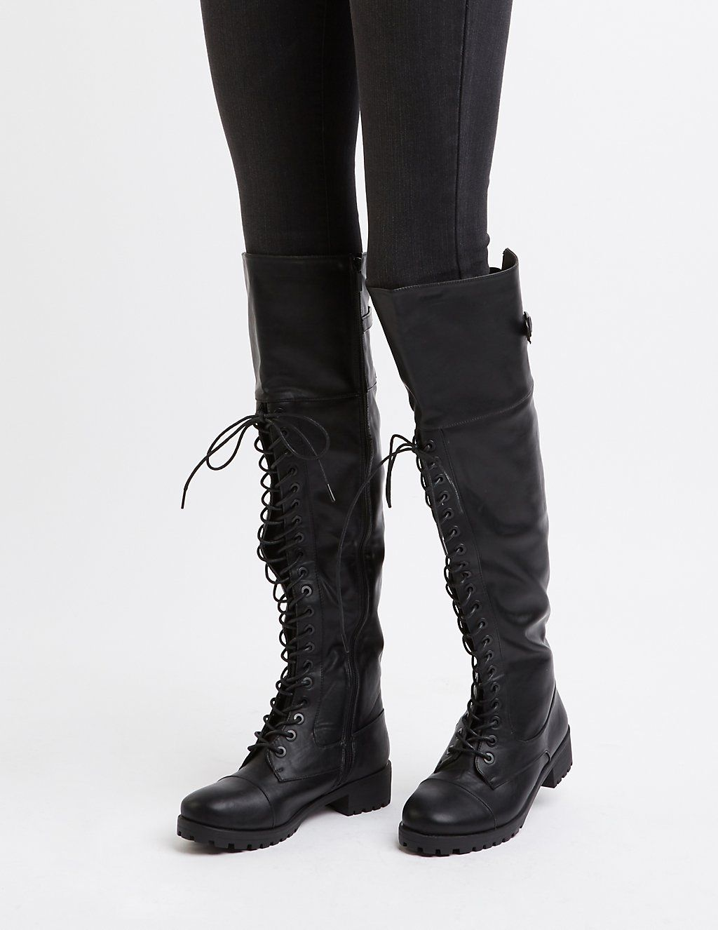 5873b1b09 Over-The-Knee Combat Boots | Emery inspo | Combat boots, Thigh high ...