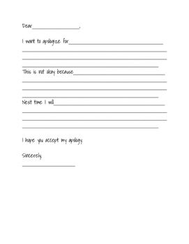 An Apology Letter Template To Help Out With Students Who Struggle Writing Acceptable Apologies Or