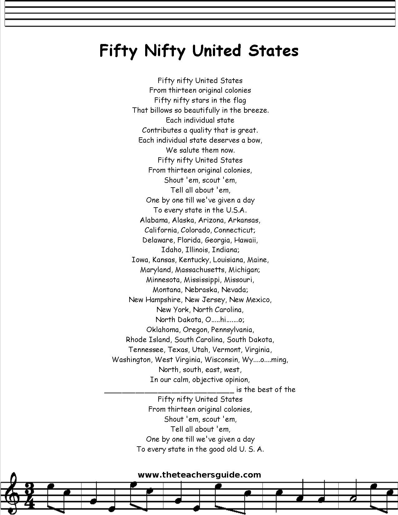 Fifty Nifty United States Lyrics Printout Midi And