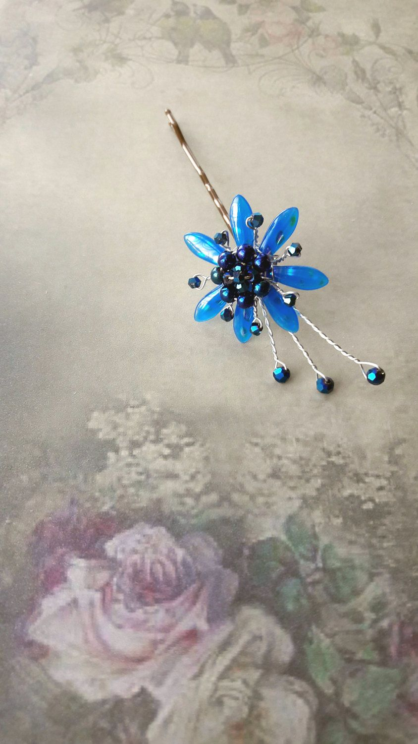 Blue crystal flower wedding hair grip crystal wire hair grip blue crystal flower wedding hair grip crystal wire hair grip bridesmaid hair flower izmirmasajfo Image collections
