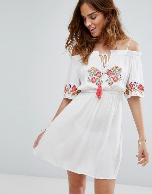 04dd1139f6e Floozie Off The Shoulder Embroidered Beach Dress. Floozie By Frost French  ...