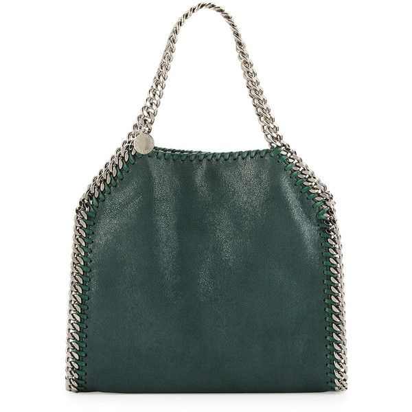 Stella McCartney Falabella Mini Tote Bag (€1.005) ❤ liked on Polyvore featuring bags, handbags, tote bags, charcoal grey, tote handbags, tote bag purse, logo tote bags, green tote purse and stella mccartney tote