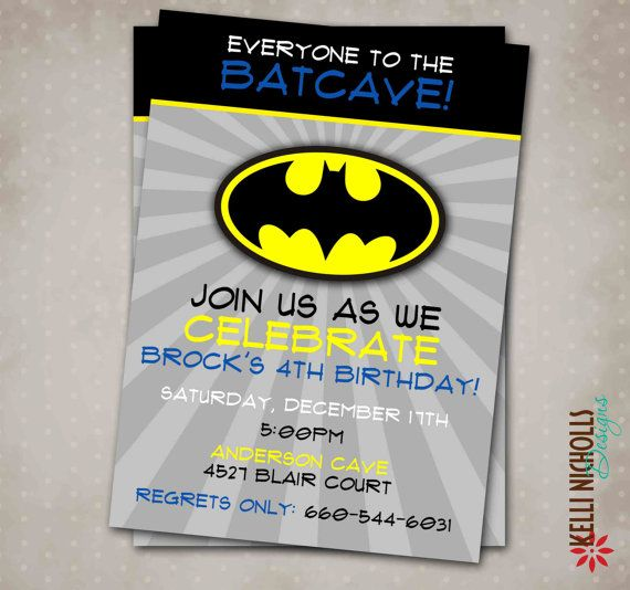 Batman Birthday Party Invitation Custom by KelliNichollsDesigns
