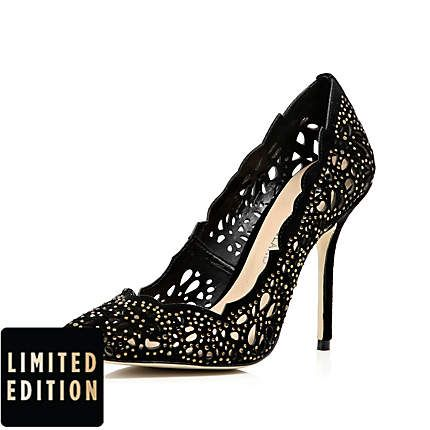 e95fd82b61ba Black laser cut embellished pumps - heels - shoes   boots - women ...