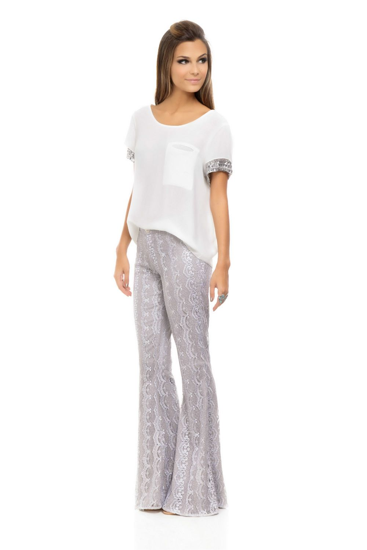 Calça Flare Renda Prata - roupas-calcas-calca-flare-renda-prata Iorane