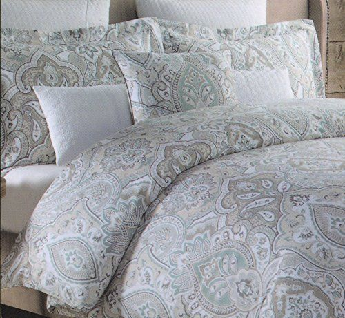 Tahari Home 3pc Luxury Duvet Cover Set Blue Gray Taupe Ivory