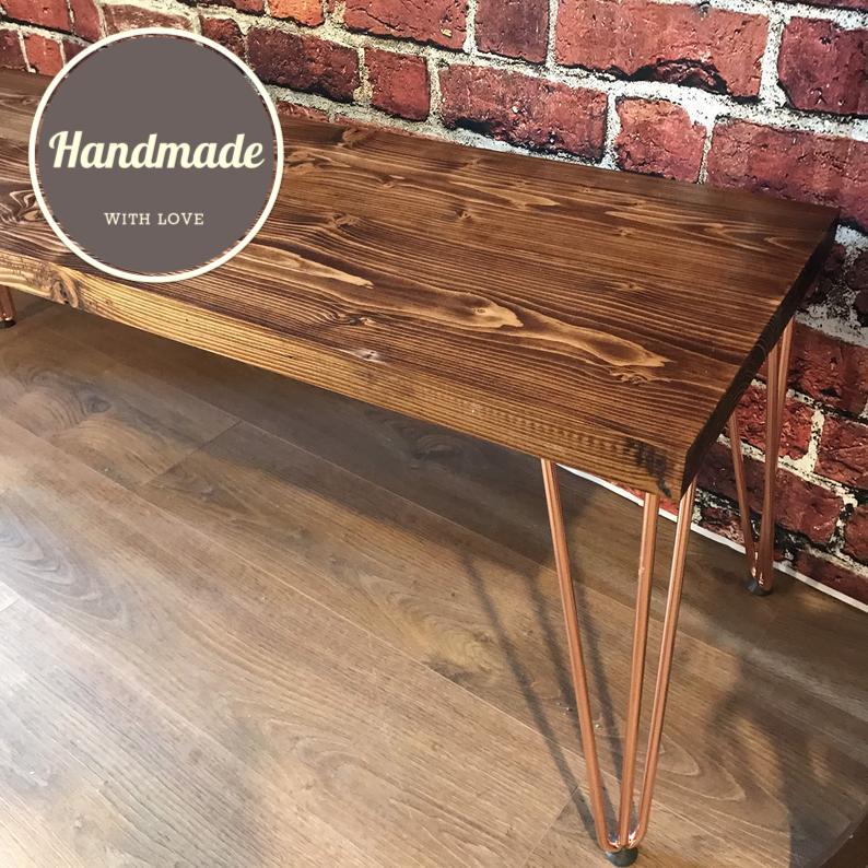 Photo of Table Bench – Hairpin Legs – 250cm / Light Oak / Black