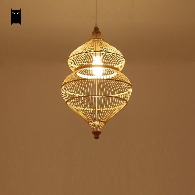 Bamboo Wicker Rattan Calabash Pendant Light Fixture Asian Hanging Ceiling Lamp Soleil Rusticprimitive