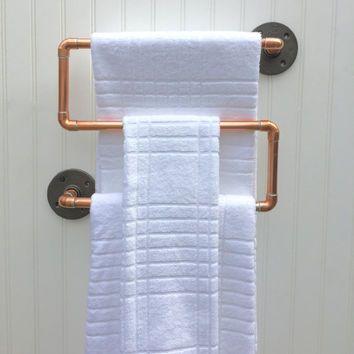 Industrial Copper Pipe Towel Rack Towel Bar Modern Industrial Steampunk  Design Modern Decor Copper Bathroom Accessories Kitchen Rack USD) By  MacAndLexie