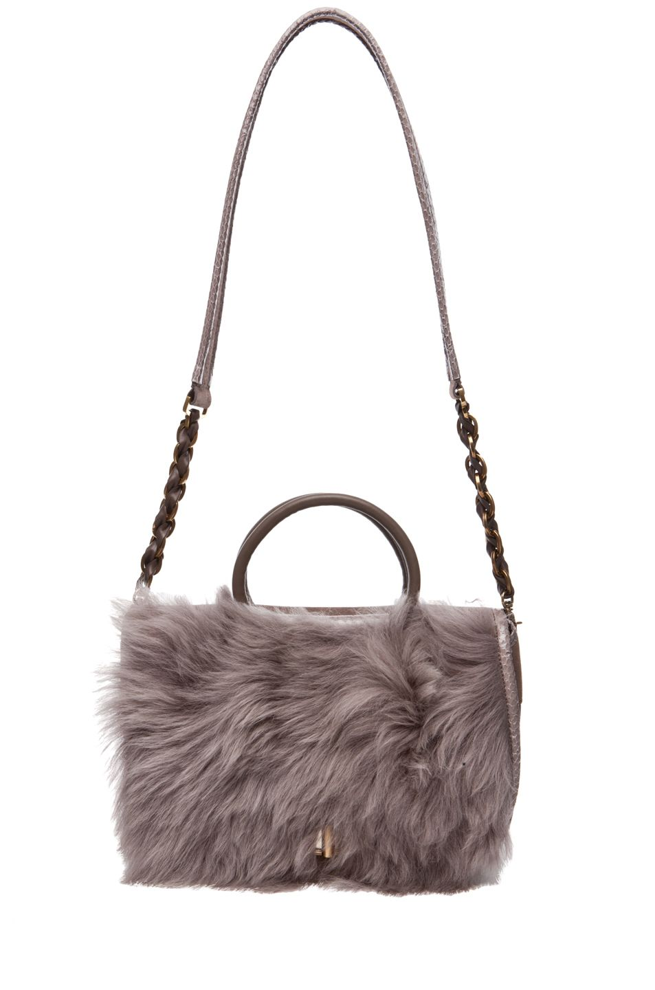 Nina Ricci Fur And Watersnake Bracelet Bag In Taupe
