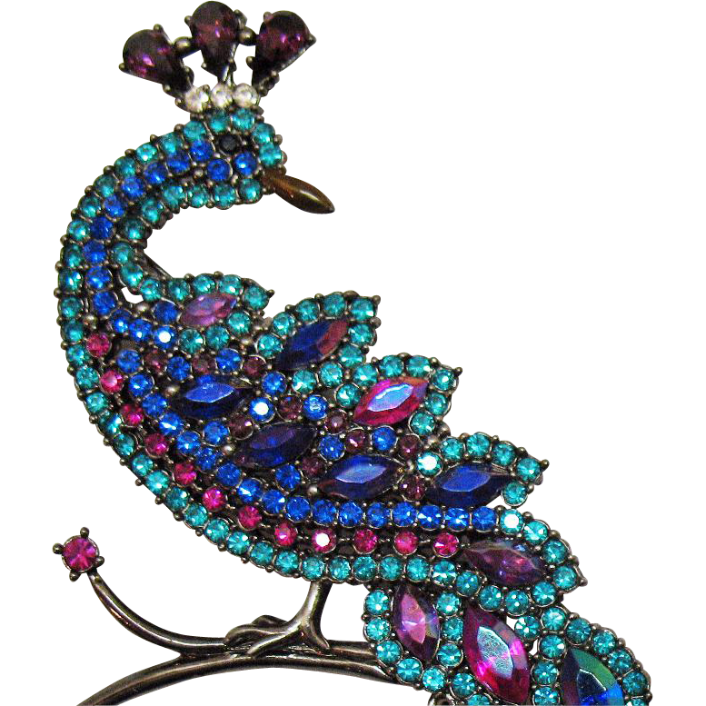 ca7d8c48b75 $42 (was $68) - Rare AVON Hostess Gift Vintage Magnificent Peacock Brooch