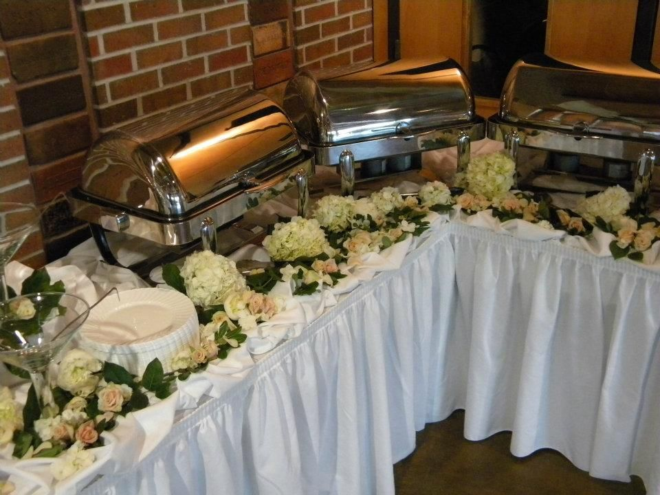 Buffet Tables Decorated With Beautiful Flowers Buffet Table