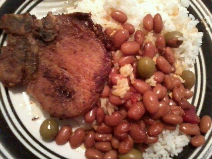 Puerto ricangroup chops n rice n beans I made