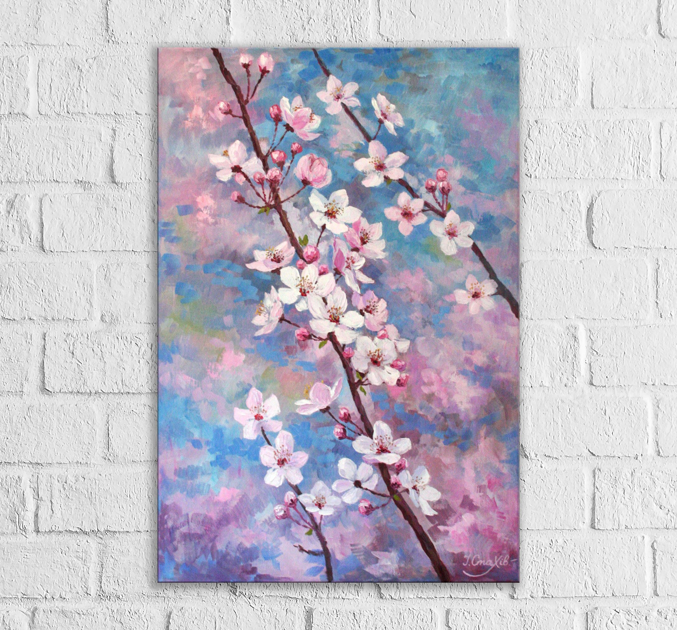 Cherry Blossom Painting Flower Large Vertical Wall Art Cherry Etsy Cherry Blossom Painting Cherry Blossom Art Floral Oil Paintings