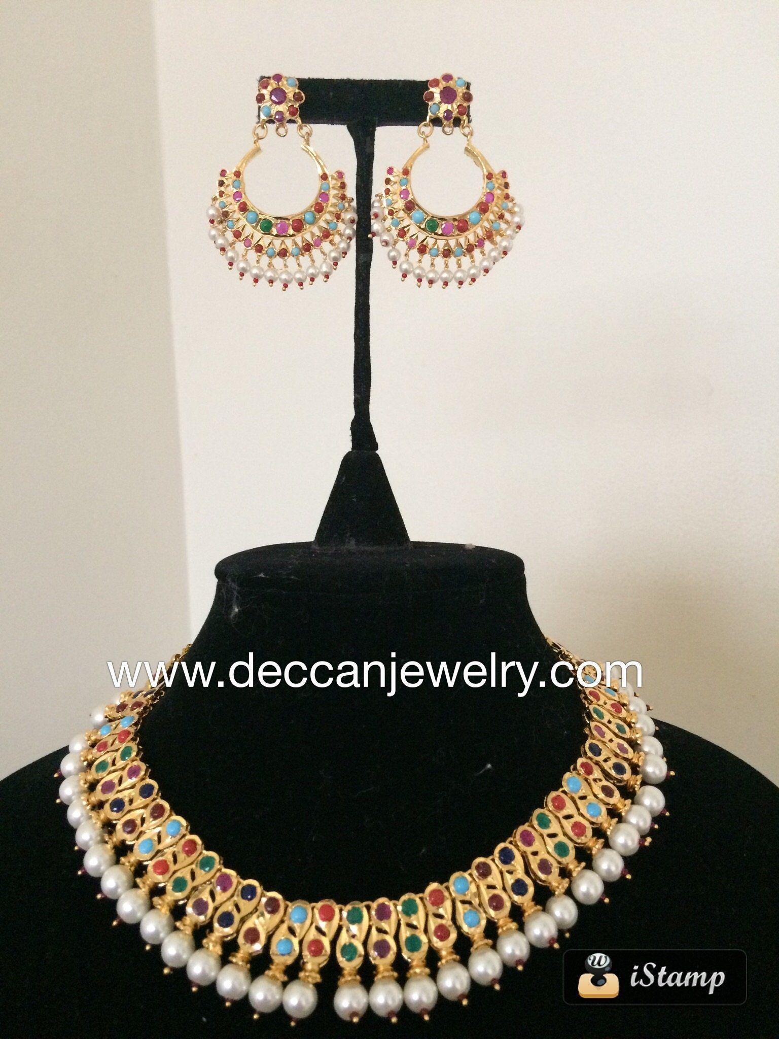 Navratan multicolor hyderabadi barfi necklace set with chandbali