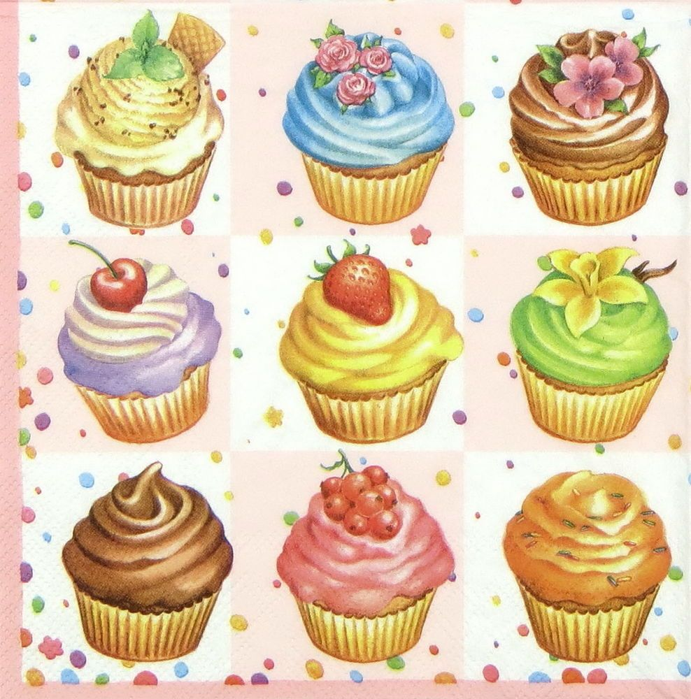 Decoupage 4x Paper Napkins for Party Cups and cupcakes