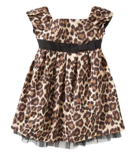 Baby Gap Girl Admirals Club Leopard Print Dress 12 18 Mo Holiday