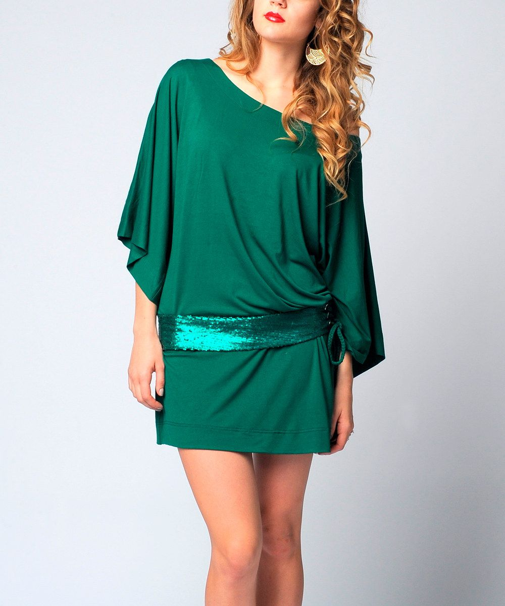 eca5a0bda930 Look at this Green Off-Shoulder Cape-Sleeve Dress on  zulily today ...