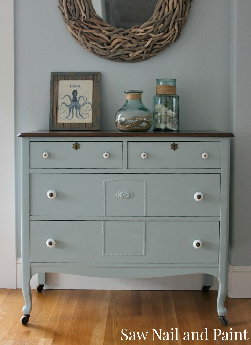 of General Finishes Milk Paint-Blue antique applique dresser 2 - Antique Dresser In Seattle Skies General Finishes, Milk Paint And