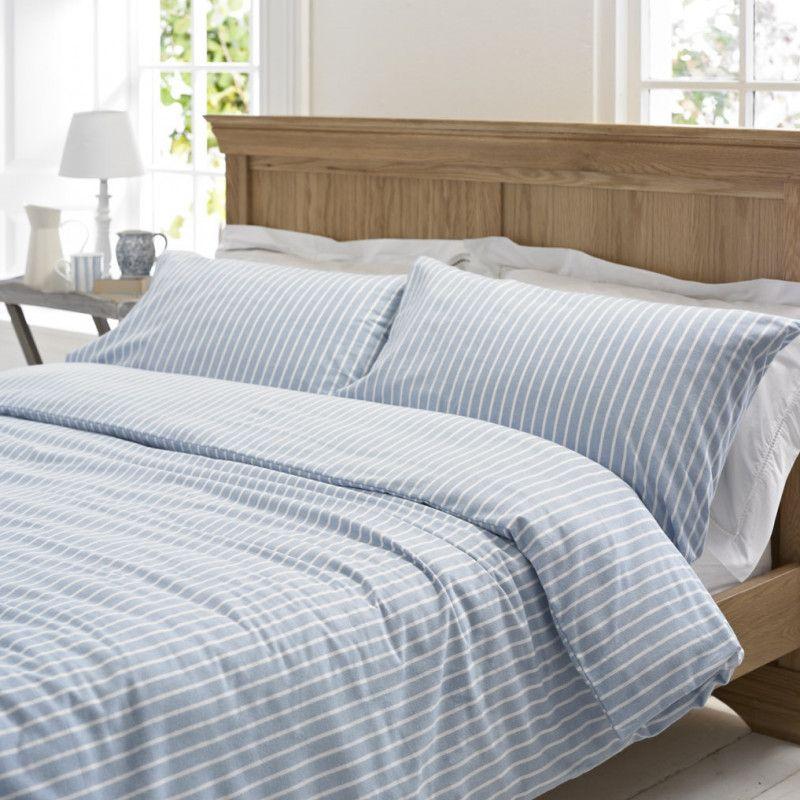 Blue Brushed Cotton Duvet Cover Blue Striped Flannelette Bedding Uk Blue Bedding Master Bedroom Brushed Cotton Bedding Duvet Bedding Sets