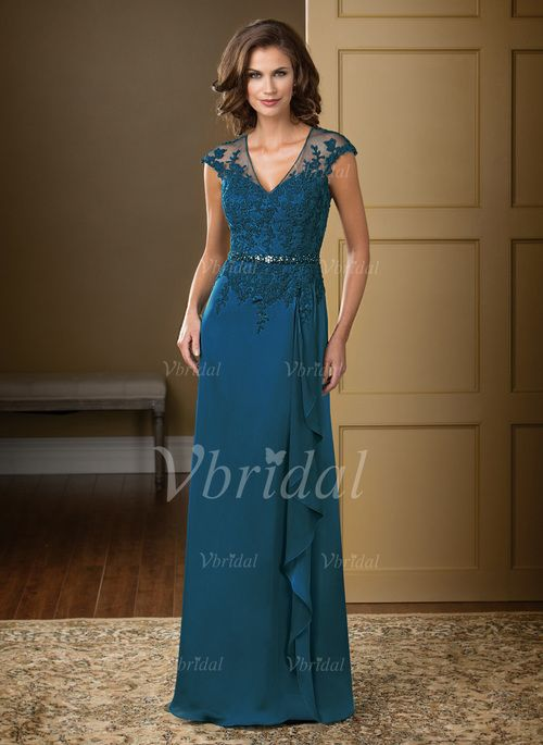 Mother of the Bride Dresses - $151.77 - A-Line/Princess V-neck Floor-Length Chiffon Tulle Mother of the Bride Dress With Lace Beading Appliques Lace Cascading Ruffles (0085057341)