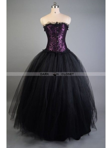 Purple And Black Long Gothic Corset Prom Gown Gothic Prom Dresses