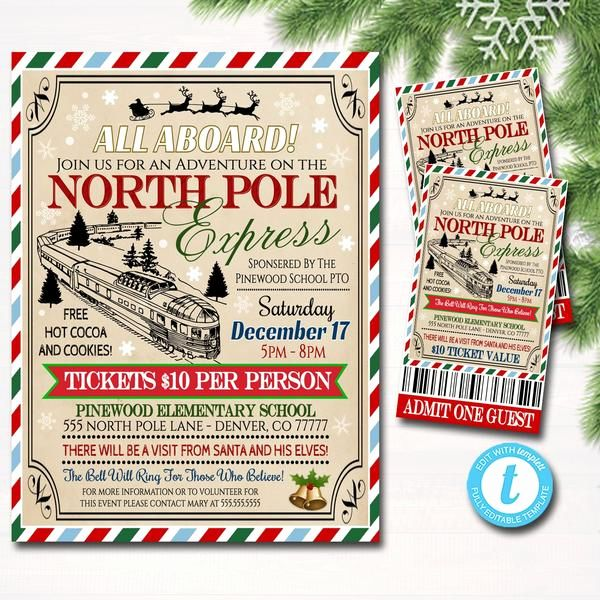 Polar Express Invitation Template Lovely Editable north ...