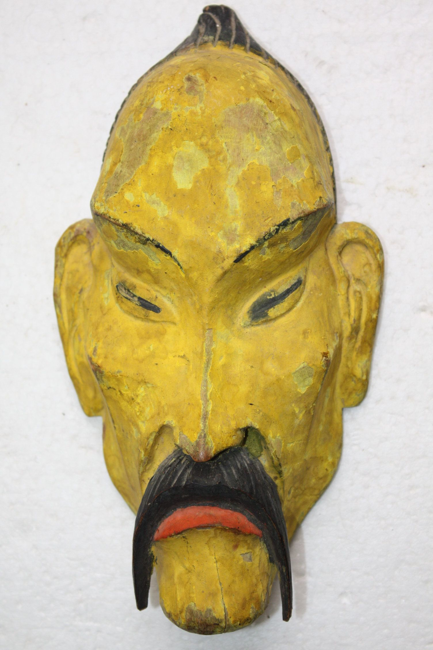 Old Antique Asian Hand Carved Chingis Khan Wooden Mask Wall Hanging ...