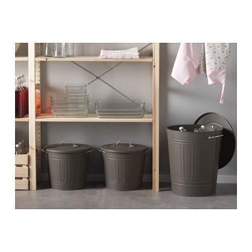 KNODD Kannellinen tynnyri - 16 l, harmaa - IKEA
