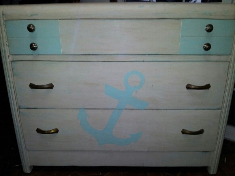 Anchor chest dark wax antique finish