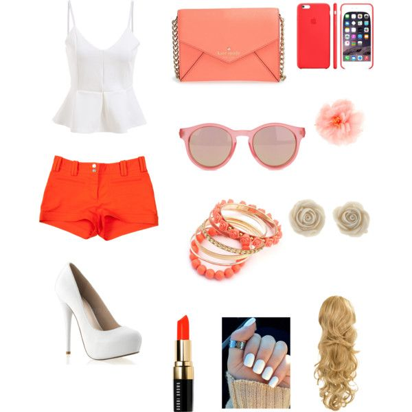 Orange by benue on Polyvore featuring polyvore fashion style Versace Kate Spade Le Specs claire's Bobbi Brown Cosmetics