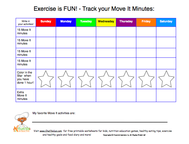 Daily Physical Activity For Kids 60 Minutes Of Activity Color In Star Physical Activities For Preschoolers Physical Activities For Kids Physical Activities