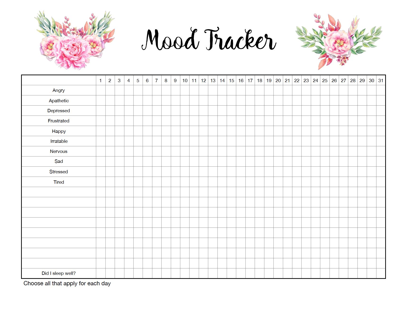 Free Printable Mood Trackers 4 Designs