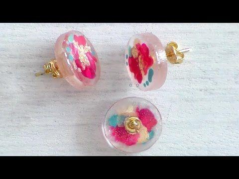 91b5730eaf32 Aretes en resina pintados a mano - YouTube | elena | Resina, Joyas ...