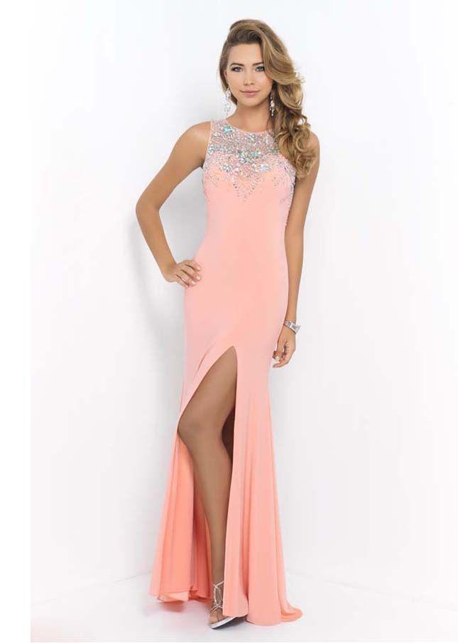 Coral Pink Slit Leg Blush 9927 Long Prom Dress 2015 With Beading ...
