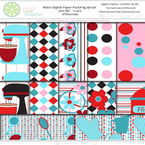 Retro Digital Paper Baking Kitchen By LollipopLimeGraphics