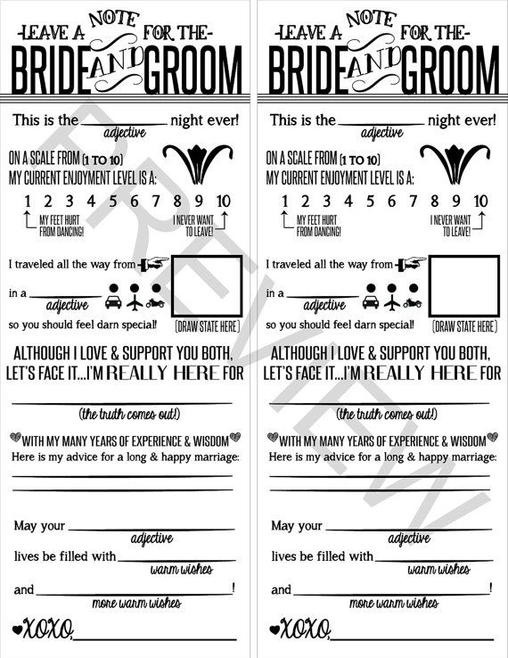 Wedding Note to Bride & Groom Printable File by