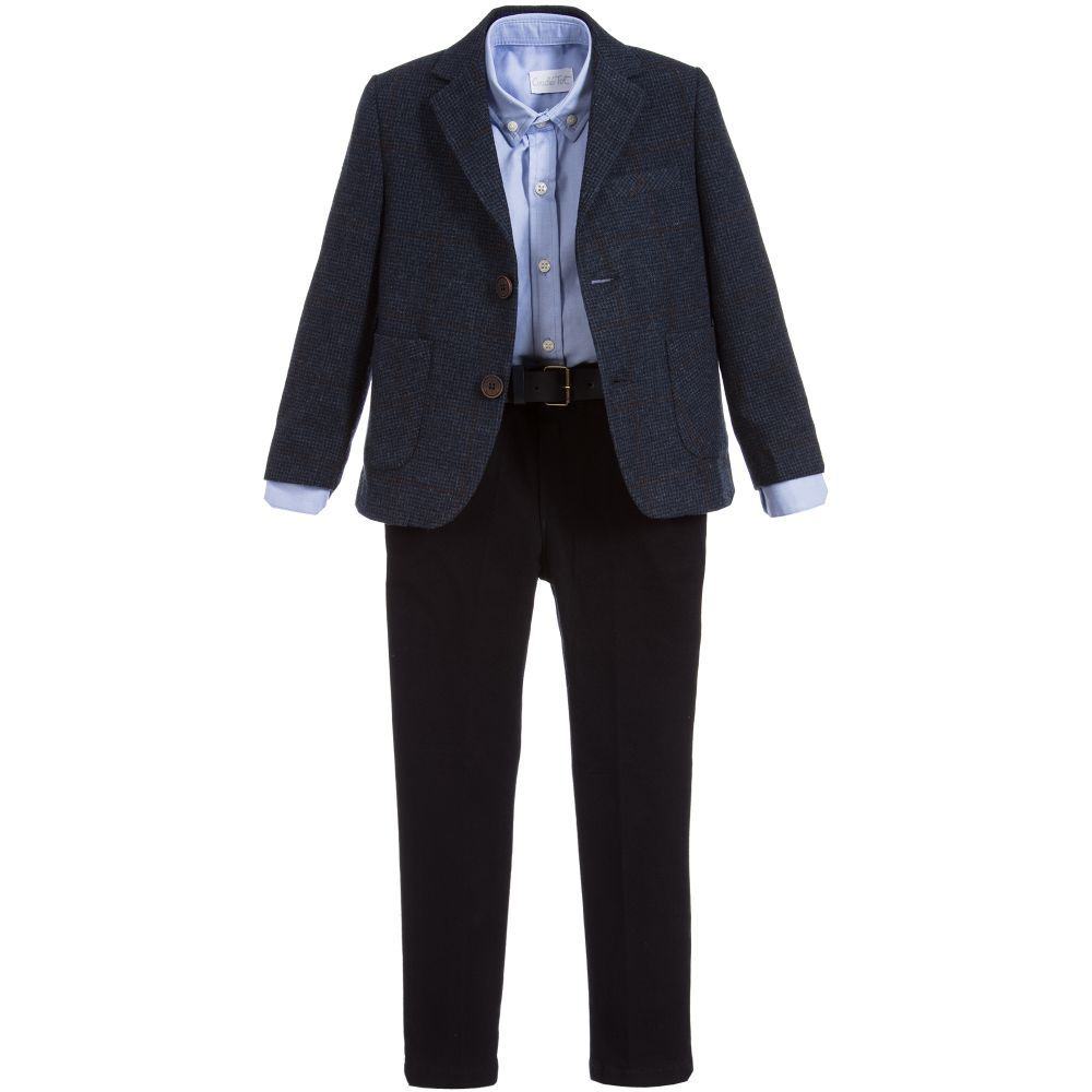 Designer Boys Navy Blue Wool Blazer with Navy Chino Dress Suit Set