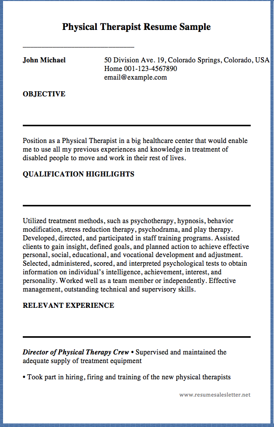 Physical Therapist Resume Sample