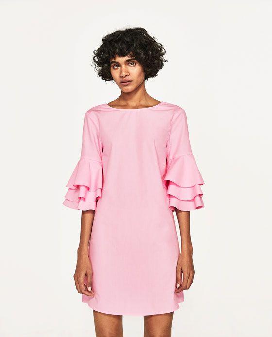 Imagem 2 de VESTIDO MANGA FOLHOS da Zara | roupa | Pinterest ...