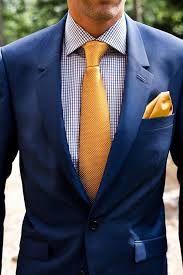 Men Pocket Squares Blue Gold -silk Pocket Square