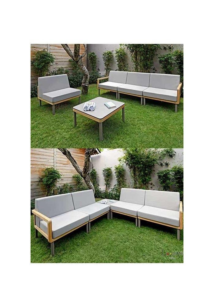 Livraison Offerte] Canapé de jardin en teck massif en vente ...