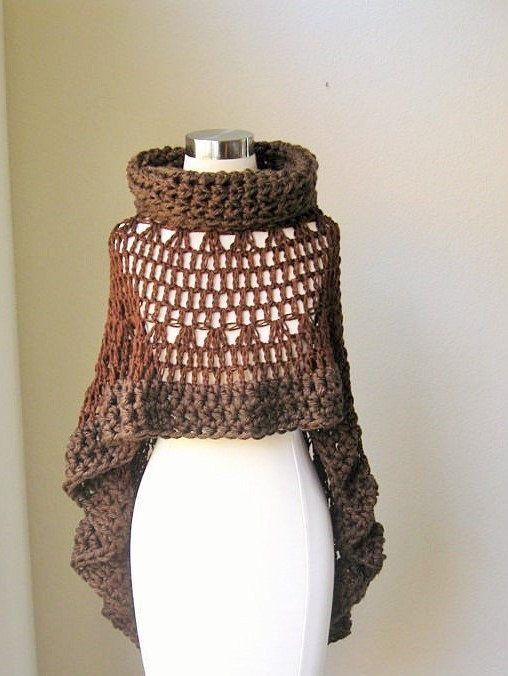 BROWN BOHEMIAN PONCHO Crochet Knit, Cape, Shawl, Turtleneck Poncho ...
